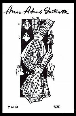 BIB APRON ANNE ADAMS 4694 SMALL Vintage 40's Fabric Material Sewing Pattern