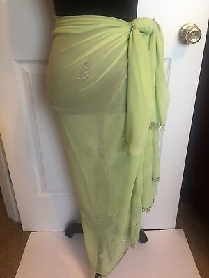 dc31c42352 Sarong Women s Sheer Green Cover Up Wrap Beach Pool Swimwear One Size Fits  Most