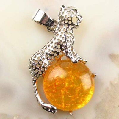 Yellow Rock Crystal Wrapped Tibetan Silver Leopard Pendant Bead A19127