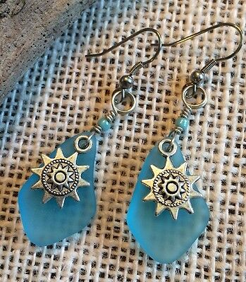 Sun Star Aqua Blue Sea Glass Jewelry Earrings 316L Surgical Steel Gift Sack