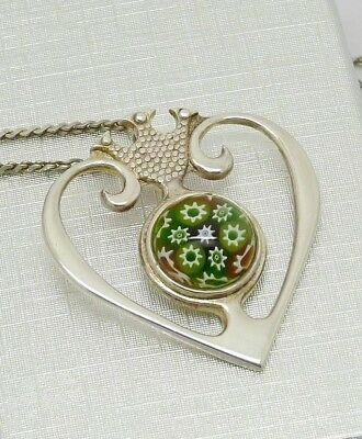 Lovely Scottish Solid Silver Millefiori Luckenbooth Pendant Hm 1977 Great Gift!