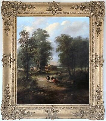 Cattle at the Village Stream Antique Oil Painting 19th Century British School