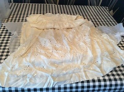 Lovely Antique Vintage long length christening robe gown  Victorian 36 long