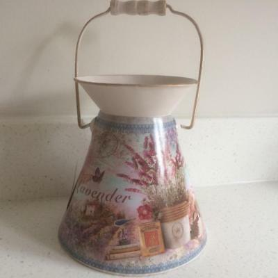 Shabby French Country Style Chic Metal Floral Lavender Decorative Churn