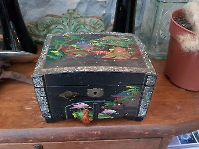 Vintage-Japanese-Hand Painted/Abalone Inlaid Trinket Box Wih Musical Movement