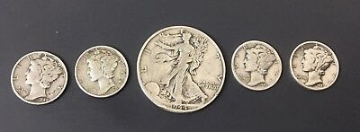 5 US 90% Silver Coin Lot - Walking Liberty Half Dollar Mercury Dimes - Nice!