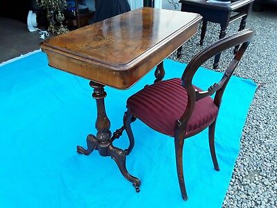 Antique Victorian Burr Walnut Card/Games Table, Side Table, Writing Table, Desk