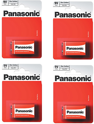 4 x Panasonic 9V PP3 Zinc Carbon Batteries, 9 Volt Smoke Alarms.