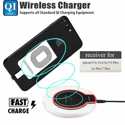 Qi Wireless Fast Charger Dock Charging Pad+Receiver for Apple iPhone 5/6s/7/Plus