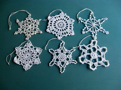 Vintage Hand Made CROCHET SNOWFLAKE Ornaments  6 Unique Patterns Lot H