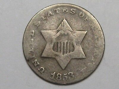 1853 US Silver Three Cent Coin. 3¢.  #11