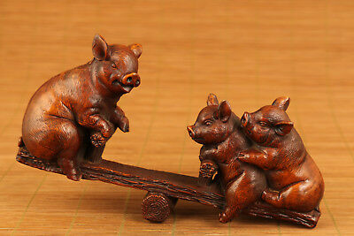 big chinese old boxwood hand carved pig statue figure netsuke collectable