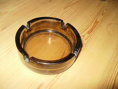 Vintage French Thick Round Smoked Brown Glass Ashtray (PM738B)