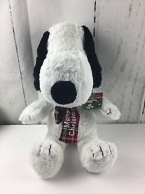 Peanuts Snoopy Merry Christmas Holiday Tartan Plaid Red Scarf Large Plush Doll