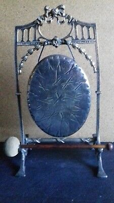 Unusual Antique Victorian Oval Brass Table Dinner Gong with Striker