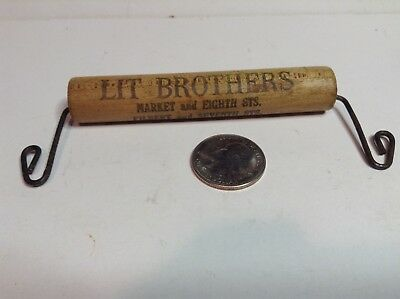 Early Maple Advertising Package Handle, LIT BROTHERS, Philadelphia, PA