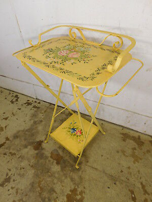 Vintage 1950s Yellow Tole Ware Hand Painted Folding 2 Tier Bar Tea Cart Stand