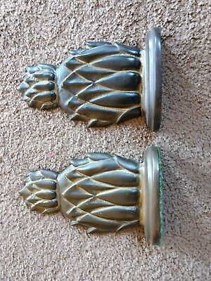 """Vintage Heavy Solid Brass Pineapple Bookends 6 1/2"""" Tall"""