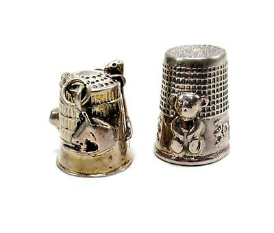Vintage 925 Silver 17.9g Stamped Cat Teddy Bear Thimble Set of 2 CD1258