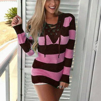 Women Pullover Autumn Knitted Lace-Up Sweaters Hit Striped Jumpers V-Neck Tops S