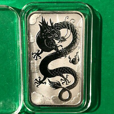 Chinese Dragon Australian Dollar 1 Troy Oz .999 Fine Silver Ingot Bar Medal 999