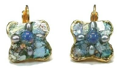 Ancient Roman Glass Earrings Fragments 200 B.C Bluish Patina Hook Gold Plated