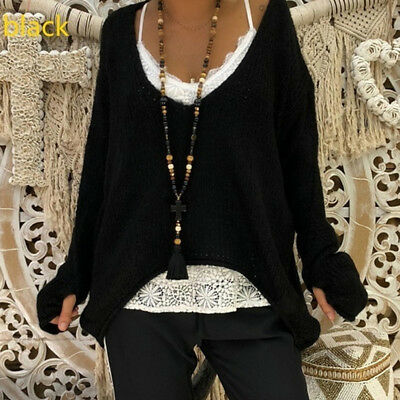 Ladies Autumn Loose Long Sleeve V Neck Irregular Pullovers Knitting Sweater S