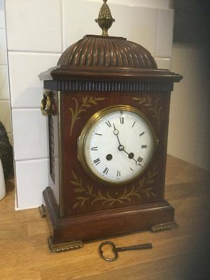 Superb Quality Mahogany Brass Inlaid Bracket /mantle Or Table Clock-- C 1900