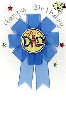 Best Dad Detachable Rosette Birthday Greeting Card Hand-Finished Cards