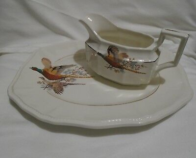 Gem Pottery - Made In England  Pheasant Meat Plate And Gravy Boat