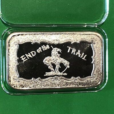 End Of The Trail Mother Lode Mint 1 Troy Oz .999 Fine Silver Ingot Vintage Bar