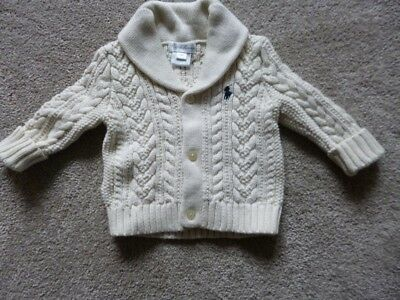 Ralph Lauren Ivory Coloured Cable Knit Cardigan Age 6 Months Ex Con