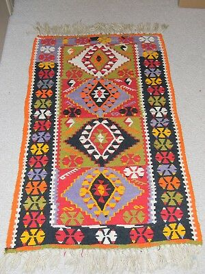 VINTAGE INDIAN MEXICO NATIVE AMERICAN HAND MADE WEAVED WOOL RUG 48 x 29
