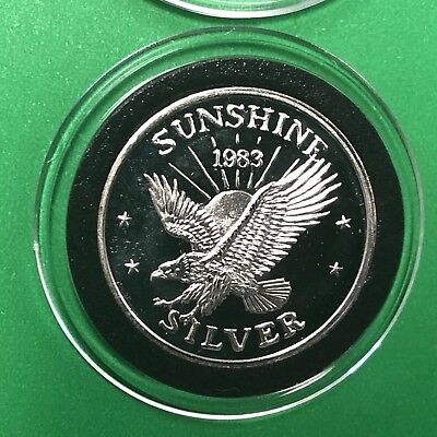 1983 Sunshine Mining Eagle 1/4 Troy Oz .999 Fine Silver Round Coin Medal