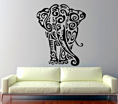 "Tribal Elephant Wall Car Vinyl Decal Die Custom Made 9-22"" Tall Color Choices"