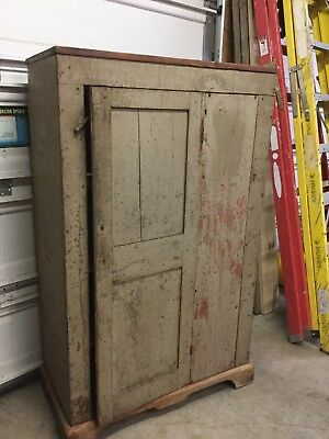 Early primitive cupboard farmhouse blue painted square nails