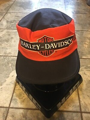 HARLEY DAVIDSON Vintage 80s 90s Painters Hat Cap Orange Made In USA Rare c1875bb0c4e