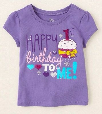 """NEW! """"Happy 1st Birthday To Me!"""" Baby Girls Shirt 12-18 Months 1 Year Gift! SS"""