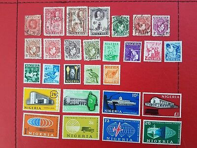 Small Collection of Nigeria Stamps on Two Scans