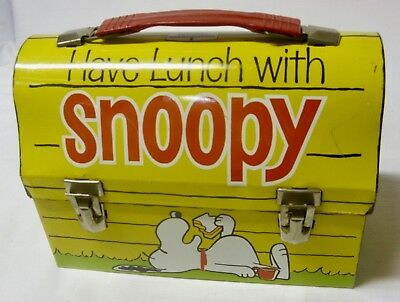 "Vintage Metal ""Have Lunch with SNOOPY"" LUNCHBOX with THERMOS - 1968"