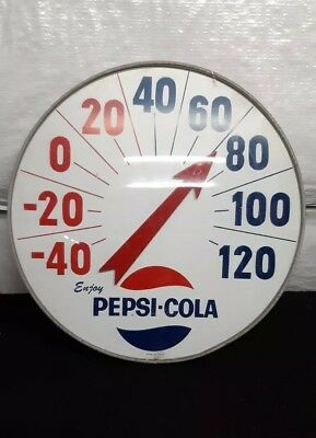 """Vintage Large Pepsi Cola 18"""" Round Thermometer Works"""