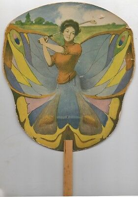 Vintage Advertisement FAN of YOUNG LADY GOLFER in Butterfly Outfit - J R Welker