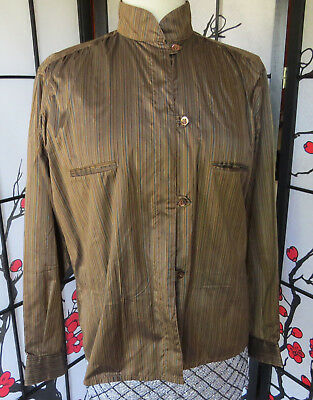 VINTAGE KRIZIA 100% SILK BLOUSE/ Brown, delicately striped. Made in Italy.SZ 42.