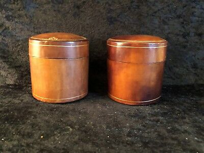 Pair Of Mid Century Leather Dresser Boxes, Made In Italy (D11)
