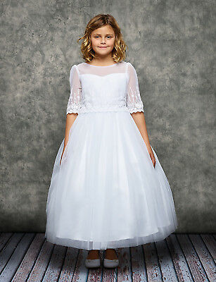 White First Communion Dress Flower Girls Half Sleeve Tulle Wedding Party Easter