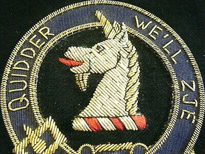 Vtg Wool Unicorn Scottish Celtic Clan Embroidery Crest Badge Stewart Of Appin