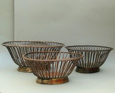 Vintage Graduated Set of 3 Bread / Fruit Baskets ~ Worn Silver Plate on Copper