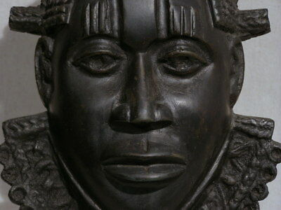 A Rare And Beautiful Benin Antique/Original Bronze Mask
