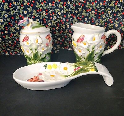 Vintage Butterly And White Floral Creamer/sugar Bowl/spoon Rest Set
