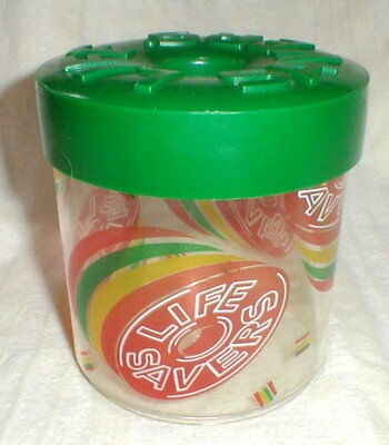 Vintage Life Savers Candy Plastic Container Jar with Green Screw on Lid